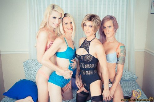 DirtyBlondeTranssexuals - Sami Price, Nina Lawless, Brooke Zanell, and Holly Parker - Fierce-some T-girl foursome (2015/HD)